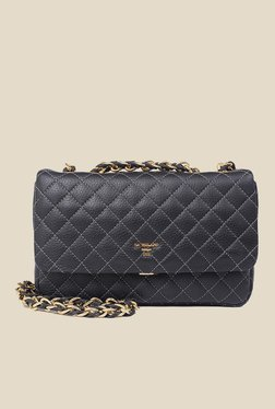 Da Milano Black Quilted Leather Sling Bag