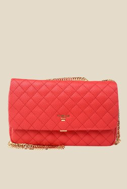 Da Milano Coral Red Quilted Leather Sling Bag