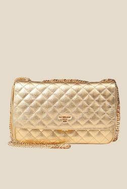 Da Milano Gold Quilted Leather Sling Bag