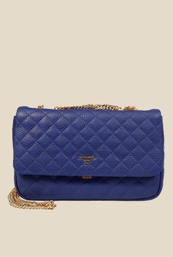 Da Milano Royal Blue Quilted Leather Sling Bag - Mp000000000689218