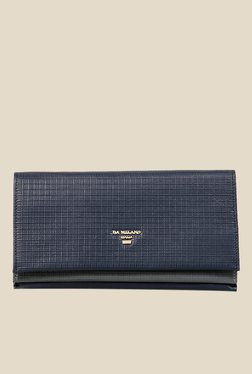 Da Milano Navy Textured Leather Wallet