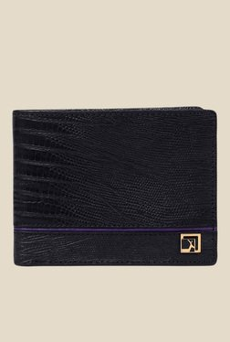 Da Milano Black Textured Leather Wallet