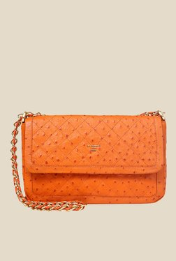 Da Milano Orange Leather Sling Bag