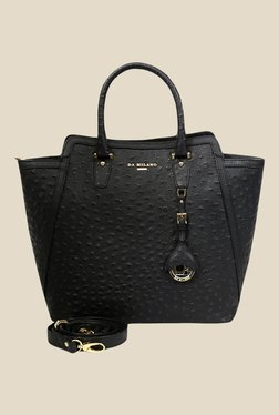 Da Milano Black Textured Leather Shoulder Bag