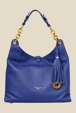 Da Milano Blue Leather Shoulder Bag