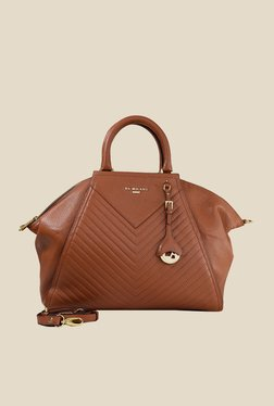 Da Milano Brown Leather Trapeze Shoulder Bag