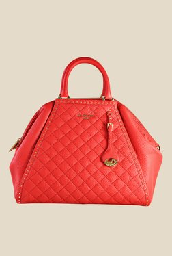 Da Milano Coral Red Leather Trapeze Shoulder Bag