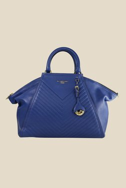 Da Milano Royal Blue Leather Trapeze Shoulder Bag