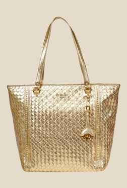 Da Milano Gold Leather Tote Bag