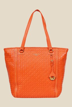 Da Milano Orange Leather Tote Bag