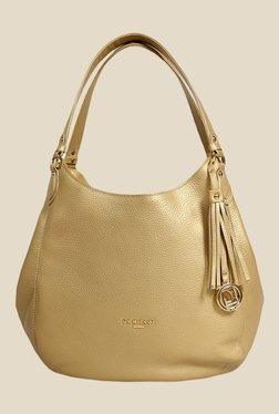 Da Milano Gold Leather Hobo Bag