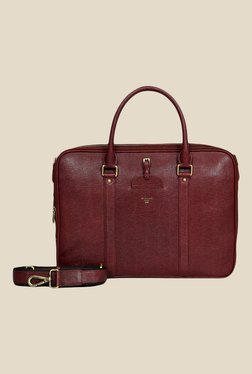 Da Milano Berry Textured Leather Laptop Bag