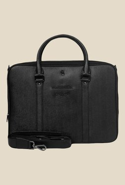 Da Milano Black Textured Leather Laptop Bag