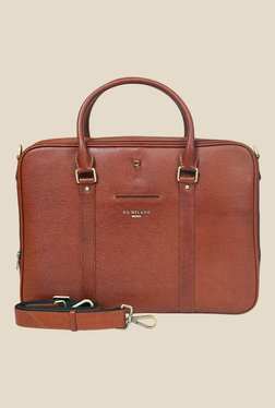 Da Milano Brown Textured Leather Laptop Bag - Mp000000000690399