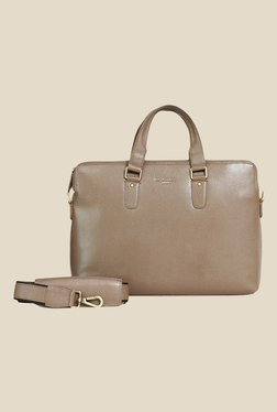 Da Milano Taupe Leather Laptop Bag