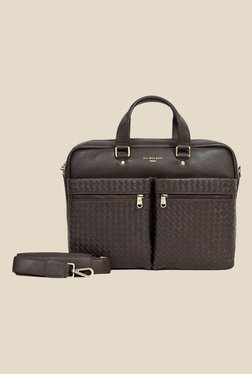 Da Milano Brown Textured Leather Laptop Bag