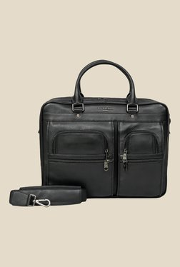 Da Milano Black Leather Laptop Bag
