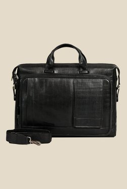 Da Milano Black Textured Leather Laptop Bag - Mp000000000690424