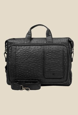Da Milano Black Textured Leather Laptop Bag - Mp000000000690427