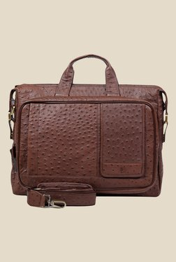 Da Milano Brown Textured Leather Laptop Bag - Mp000000000690430