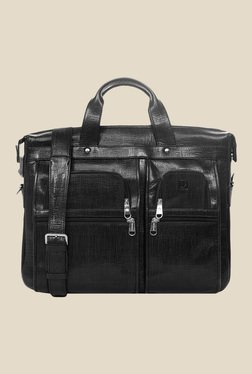 Da Milano Black Textured Leather Laptop Bag - Mp000000000690441