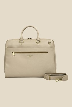 Da Milano Beige Leather Laptop Bag