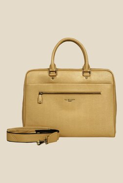 Da Milano Golden Leather Laptop Bag