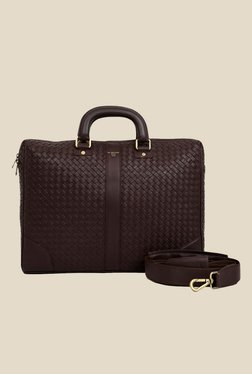 Da Milano Brown Textured Leather Laptop Bag - Mp000000000690465