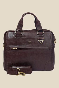 Da Milano Brown Textured Leather Laptop Bag - Mp000000000690489