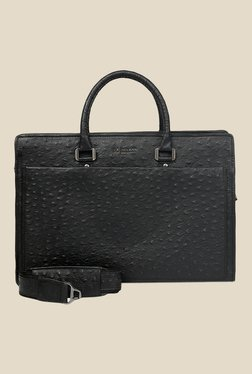 Da Milano Black Textured Leather Laptop Bag - Mp000000000690491
