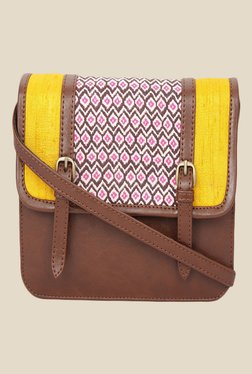 Desi Drama Queen Brown Printed Sling Bag