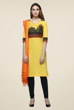 Aurelia Yellow Printed Kurta