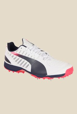 Puma evoSPEED Spike 1.3 White & Navy Cricket Shoes