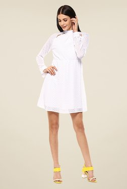 Femella White Self Print Dress