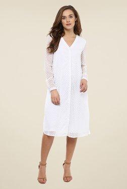 Femella White Self Print Dress - Mp000000000695878
