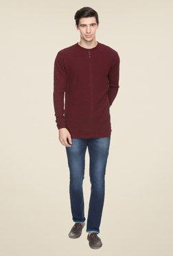 Status Quo Maroon Solid Sweatshirt