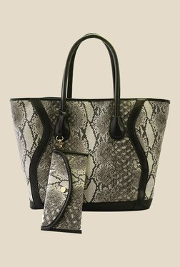 Joker & Witch Black Snake Skin Textured Tote With Wallet