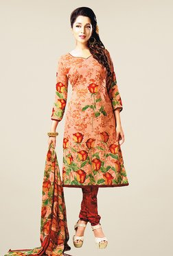 Salwar Studio Peach & Maroon Floral Print Dress Material