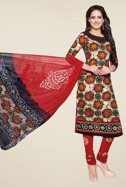 Salwar Studio Beige & Red Batik Print Dress Material