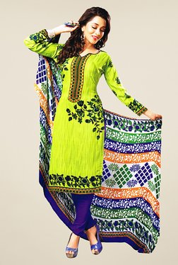 Salwar Studio Lime & Purple Floral Print Dress Material