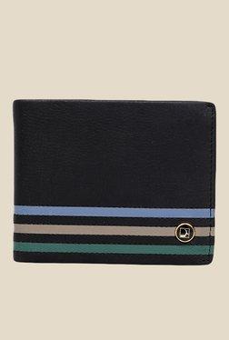 Da Milano Black Leather Striped Wallet