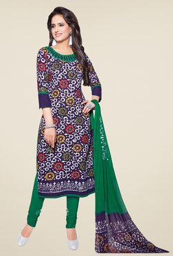 Salwar Studio Dark Blue & Green Batik Print Dress Material