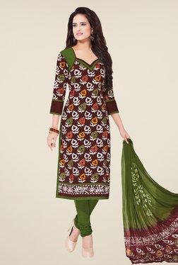 Salwar Studio Brown & Olive Batik Print Dress Material