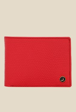 Da Milano Coral Red Textured Leather Wallet