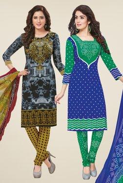 Salwar Studio Grey & Blue Dress Material (Pack Of 2)