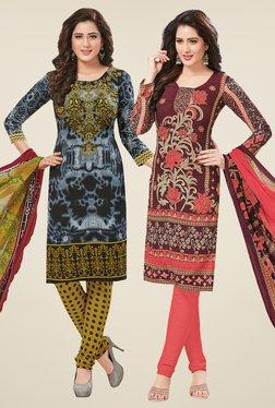 Salwar Studio Grey & Brown Dress Material (Pack Of 2)
