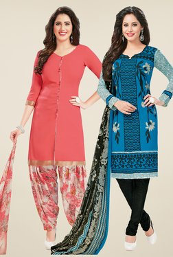 Salwar Studio Peach & Blue Dress Material (Pack Of 2)