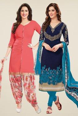 Salwar Studio Peach & Navy Dress Material (Pack Of 2)