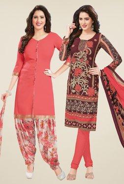 Salwar Studio Peach & Brown Dress Material (Pack Of 2)