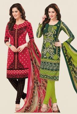 Salwar Studio Coral & Green Dress Material (Pack Of 2)